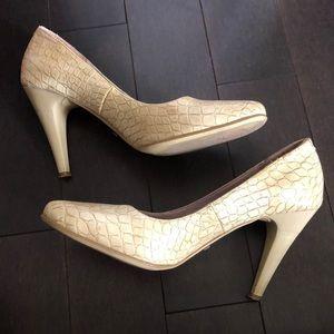 Alessia Light Beige Crocodile Style Heels